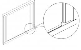 одном из двух горизонтальных профилей рамки фасада имеется встроенная выфрезерованная ручка